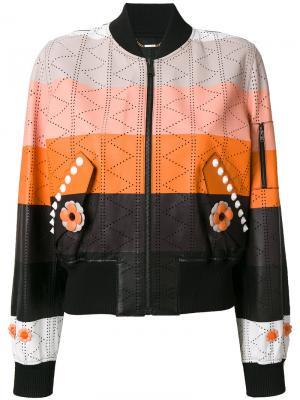 Куртка-бомбер в стиле колор блок Fendi. Цвет: многоцветный