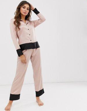 Атласная розовая пижама с отложным воротником и отделкой Drew-Розовый Bluebella