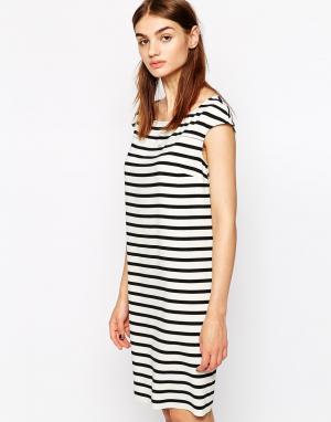 Крепдешиновое платье в полоску BZR. Цвет: белый