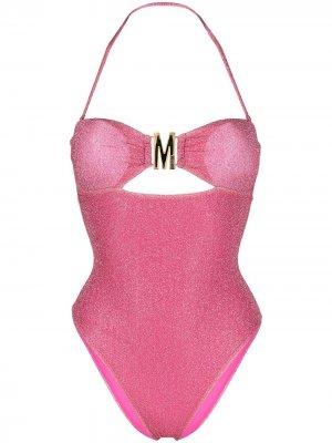 Купальник с вырезом халтер и эффектом металлик Moschino. Цвет: розовый