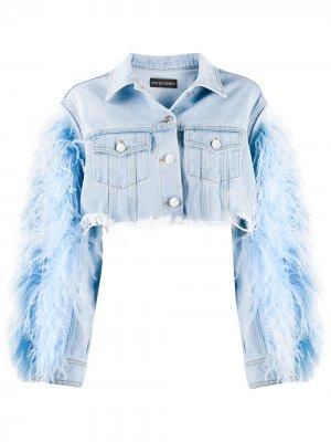 Укороченная джинсовая куртка с перьями David Koma. Цвет: синий