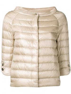Куртка-бомбер с широкой горловиной Herno. Цвет: телесный