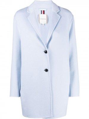 Короткое однобортное пальто Tommy Hilfiger. Цвет: синий