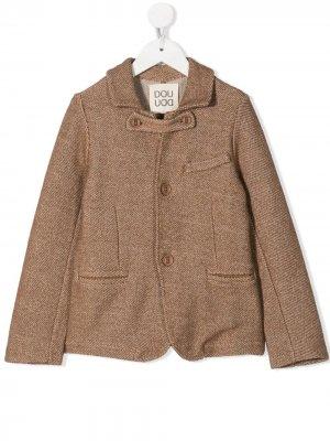 Фактурный однобортный пиджак Douuod Kids. Цвет: коричневый