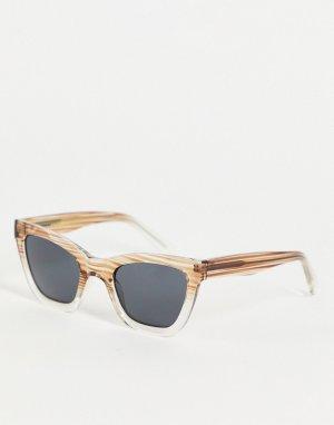 Солнцезащитные oversized-очки «кошачий глаз» в стиле унисекс светло-серой/прозрачной оправе с плавным эффектом деграде Big Kanye-Серый A.Kjaerbede