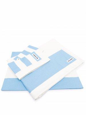 Двухцветное постельное белье Sunnei. Цвет: синий