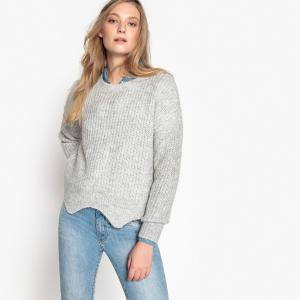 Пуловер с круглым вырезом из тонкого трикотажа BEST MOUNTAIN. Цвет: серый меланж