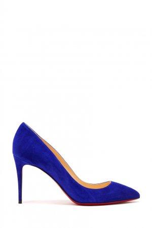 Ярко-синие туфли Pigalle Follies 85 Christian Louboutin. Цвет: синий