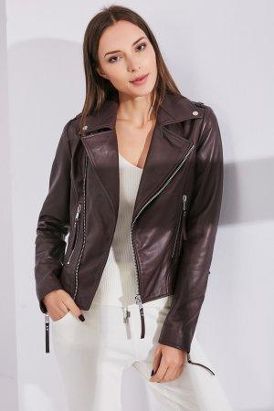 Женская Кожаная куртка 0107 INA VOKICH. Цвет: бордовый