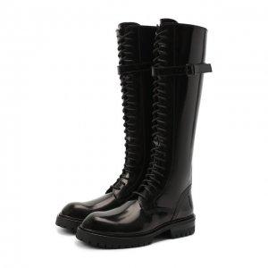Кожаные сапоги Ann Demeulemeester. Цвет: чёрный