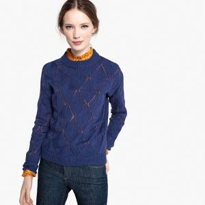 Пуловер с круглым вырезом из тонкого трикотажа LA REDOUTE COLLECTIONS. Цвет: темно-синий
