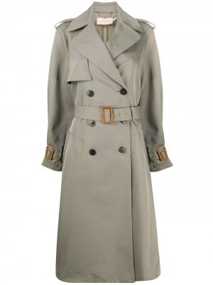 Belted double-breasted trench coat Tory Burch. Цвет: зеленый