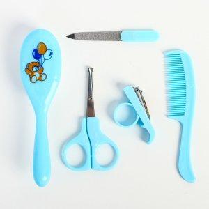 Набор по уходу за ребёнком, 5 предметов: щётка, расчёска, безопасные ножницы, пилочка и щипчики для ногтей, цвет голубой Крошка Я