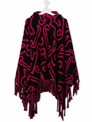 TEEN monogram-patterned cape hoodie John Richmond Junior. Цвет: черный