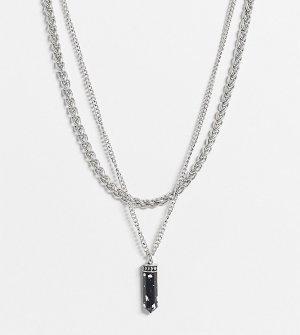 Ожерелье в несколько рядов с искусственным камнем виде осколка inspired-Серебристый Reclaimed Vintage