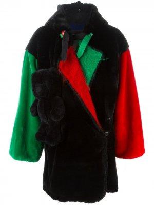 Ворсистое пальто свободного кроя JC de Castelbajac Pre-Owned. Цвет: черный