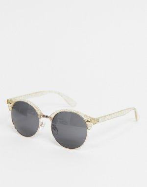 Круглые солнцезащитные очки с блестками -Коричневый цвет AJ Morgan