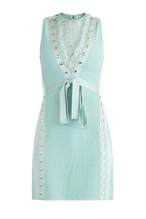 Платье-мини с кружевными вставками и текстильным поясом ELIE SAAB. Цвет: зеленый