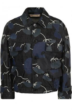 Приталенная джинсовая куртка с принтом Marni. Цвет: синий