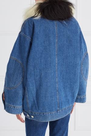 Джинсовая куртка с мехом Acne Studios. Цвет: синий