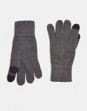 Темно-серые перчатки для сенсорных экранов -Серый Topman