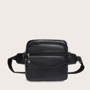 Мужская минималистичная поясная сумка SHEIN. Цвет: чёрный