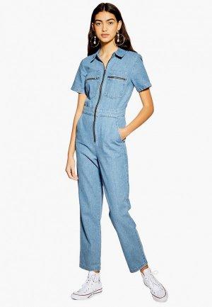 Комбинезон джинсовый Topshop. Цвет: голубой