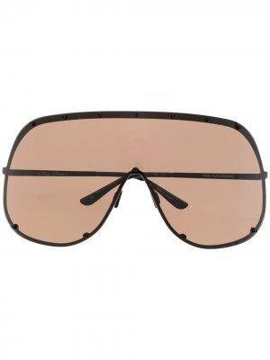 Массивные солнцезащитные очки с затемненными линзами Rick Owens. Цвет: черный