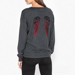 Пуловер с круглым вырезом и рисунком крылья SACHA BERENICE. Цвет: антрацит