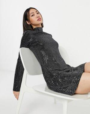 Черное платье с высоким воротом и отделкой металлик -Черный Elvi