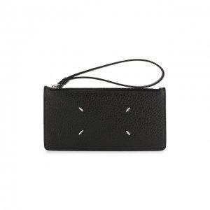 Кожаный футляр для кредитных карт Maison Margiela. Цвет: чёрный