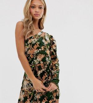 Платье мини с одним рукавом и цветочным принтом -Многоцветный ebonie n ivory