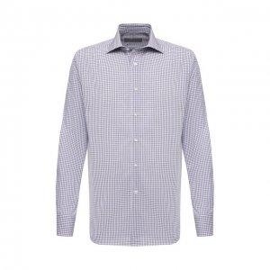 Хлопковая сорочка Canali. Цвет: синий