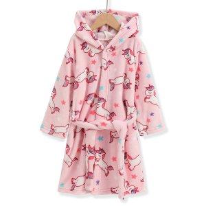 Для девочек Халат с принтом единорога фланелевый SHEIN. Цвет: нежний розовый