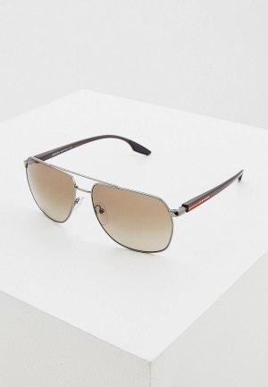 Очки солнцезащитные Prada Linea Rossa PS 55VS 5AV1X1. Цвет: коричневый