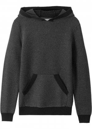 Пуловер с капюшоном bonprix. Цвет: черный