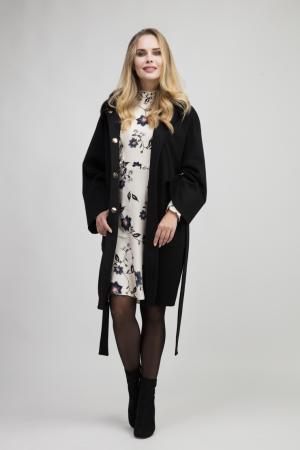 Пальто кокон на большой размер с мехом Heresis. Цвет: черный