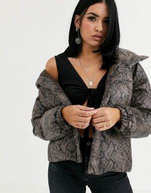 Дутая лакированная куртка со змеиным принтом Blank NYC-Мульти NYC