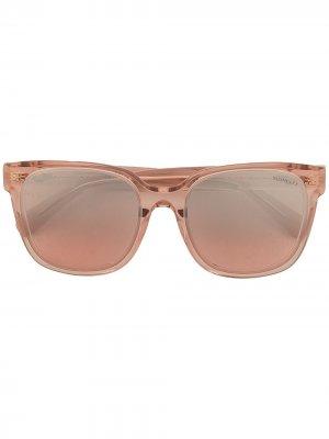 Солнцезащитные очки в круглой оправе Moncler Eyewear. Цвет: розовый
