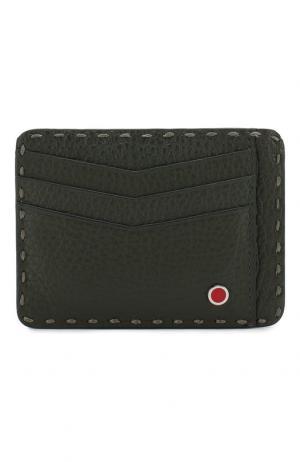 Кожаный футляр для кредитных карт Kiton. Цвет: зеленый