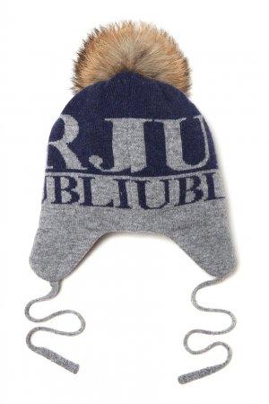 Серо-синяя шапка с помпоном Junior Republic. Цвет: синий