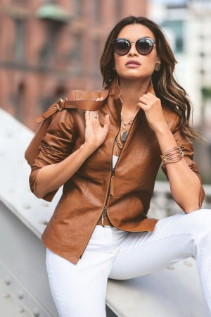 Куртка кожаная Madeleine. Цвет: cognac