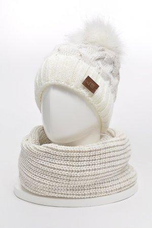 Комплект: шапка, снуд, варежки JAGGA. Цвет: молочный, светло-бежевый