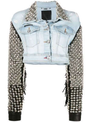 Джинсовая куртка с бахромой Philipp Plein. Цвет: синий