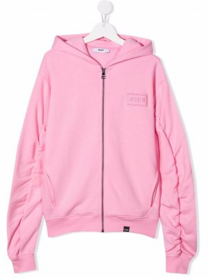 TEEN embroidered logo zip-up hoodie MSGM Kids. Цвет: розовый