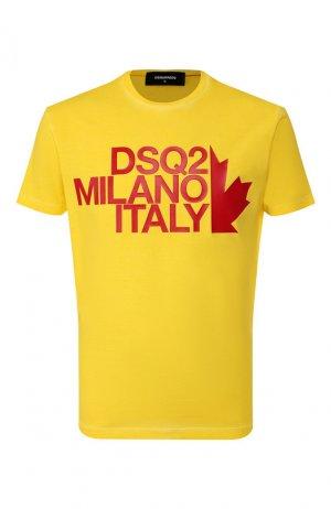 Хлопковая футболка Dsquared2. Цвет: желтый