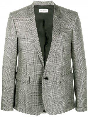 Однобортный пиджак с эффектом металлик Saint Laurent. Цвет: черный