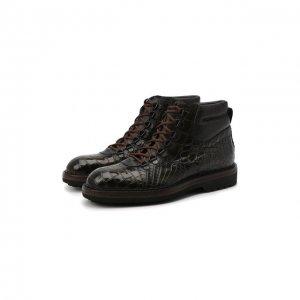 Ботинки из кожи крокодила Barrett. Цвет: хаки