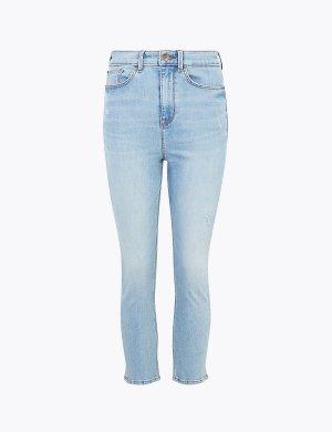 Укороченные джинсы скинни Supersoft с высокой талией M&S Collection. Цвет: светлый индиго