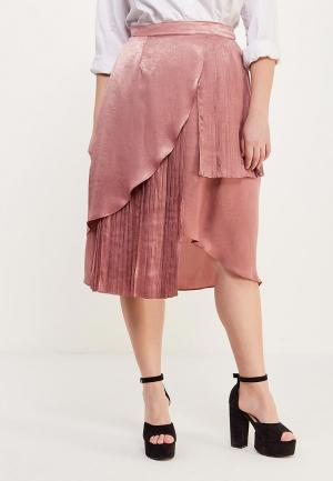 Юбка LOST INK PLUS SKIRT WITH PLEATED ASYM TIERS. Цвет: розовый